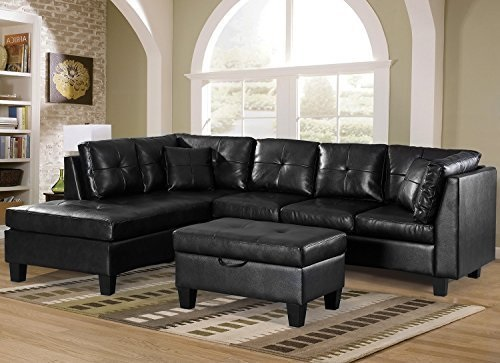 Sofa 3 Piece Sectional Sofa With Chaise Lounge And Storage Ottoman
